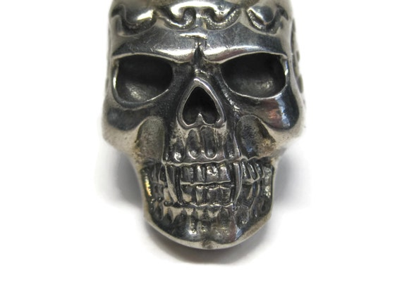 Mens Estate Sterling Vampire Skull Ring Size 11 - image 6