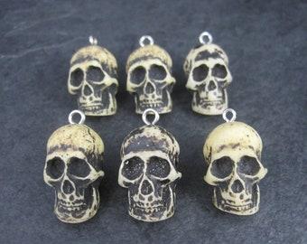 Set of 6 Bone Skull Pendant Charms 1 Inch
