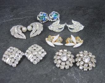 Destash Estate Lot 6 Pairs Rhinestone Clip On Earrings