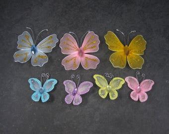 Lot of 7 Nylon Glitter Crafting Butterflies