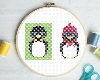 Penguin - Beginner Cross Stitch Pattern, winter penguin, winter warmer, emperor penguin, cross stitch penguin