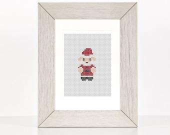 Christmas Santa Beginner Cross Stitch Pattern, Mr Claus PDF Pattern, Decoration, Ornaments,