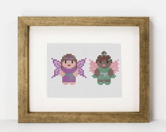 Fairy cross stitch pattern, PDF Fairies beginner cross stitch, fae cross stitch, mythical creatures, legends and myths