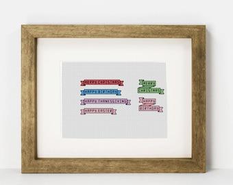 Small Holiday Banners - Cross Stitch PDF Pattern