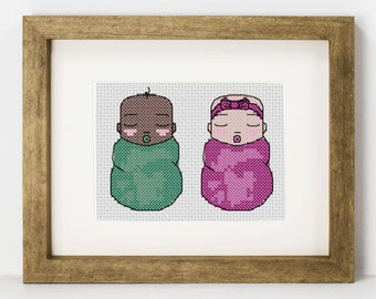 Baby Cross Stitch Pattern, Beginner Cross Stitch pattern, Swaddled Baby PDF Pattern, Newborn, Baby Girl, Baby Boy