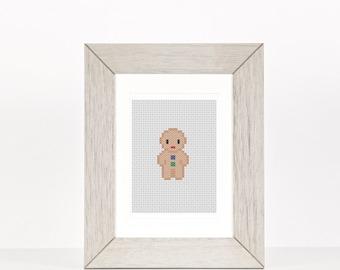 Gingerbread Man Beginner Cross Stitch Pattern, Christmas Decoration, Christmas Baking Decoration, PDF Pattern, Ornament,