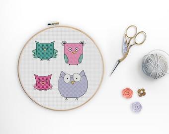 Mini Owl Collection Beginner Cross Stitch Pattern, Cute Owl PDF Pattern, Woodland Animal, Cute Fall Animal,