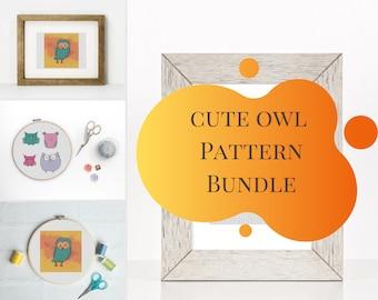 Owl Cross Stitch Pattern Bundle, Barn Owl Beginner Cross Stitch Pattern, Cute Mini Owl PDF Pattern, Woodland Animal, Cute Fall Animal,