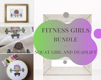 Fitness Girl Series Bundle, PDF Cross Stitch Patterns, Deadlift and squat girls, fitness cross stitchpatterns
