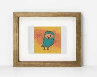 Barn Owl Beginner Cross Stitch Pattern, Cute Owl PDF Pattern, Woodland Animal, Cute Fall Animal,