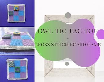 Owl tic tic toe cross stitch pattern, board game cross stitch pattern, animal cross stitch, beginner PDF cross stitch pattern