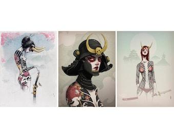 yokai sisters - 3 print bundle - fine art prints - 9x12