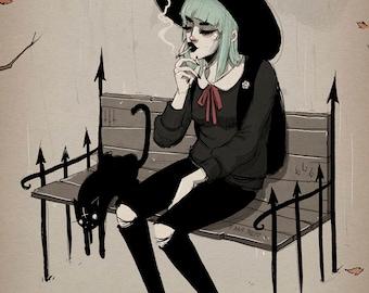 a witch - fine art print - 9x12