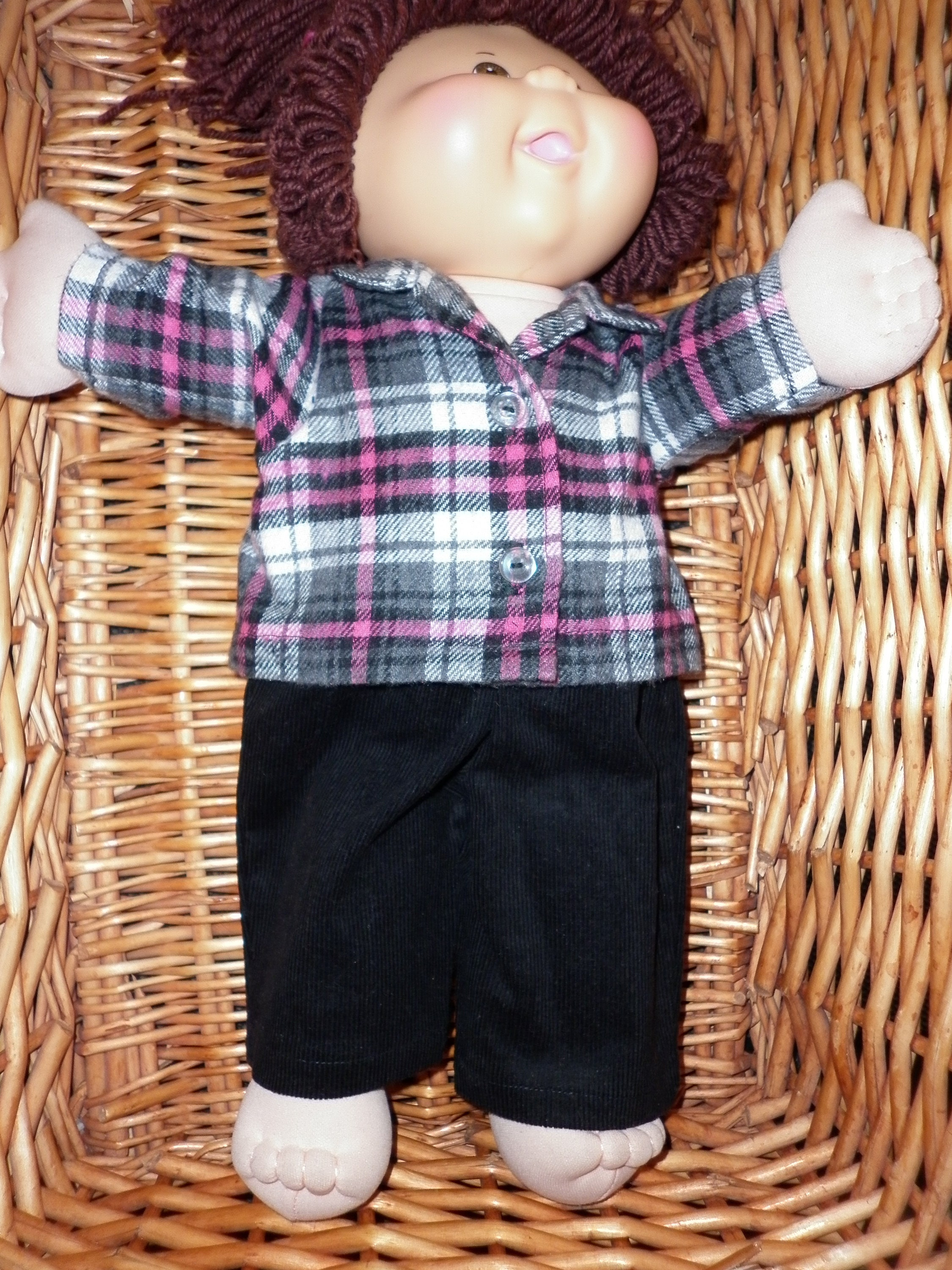 Cabbage Patch Doll Clothes Fits 16 Inch Girl Mouse Blouse and Red Black Skirt No Doll