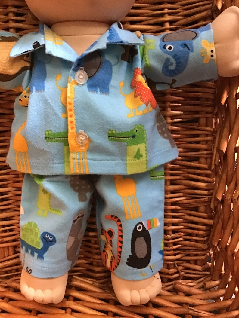 Fits 14 inch Boy Cabbage Patch Doll blue with cute animals flannelette pyjama set
