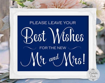 Navy Blue Printable Best Wishes Sign, New Mr and Mrs, Wedding, Guest Book (#BS11U)