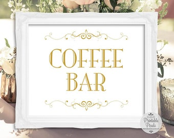 Gold Matte Printable Coffee Bar Sign, Wedding, Brunch, Shower, Party (#CF11G)