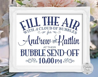 Navy Blue Printable Bubble Send Off Sign, Wedding Sign, Personalized (#BB1N)