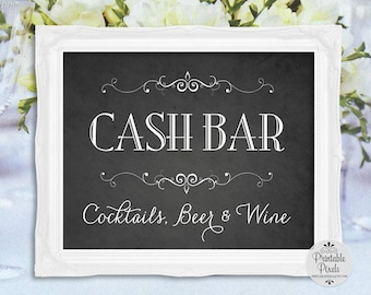 Cash Bar Chalkboard Printable Sign, Wedding Sign, Party (#CS11C)