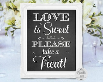 Love Is Sweet Dessert Table Chalkboard Printable Wedding Sign, Dessert Bar, Party (#DS13C)