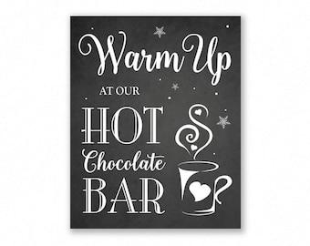 Printable Hot Chocolate Bar Sign, Chalkboard Style, Wedding Sign, Hot Cocoa Bar, #HC11C