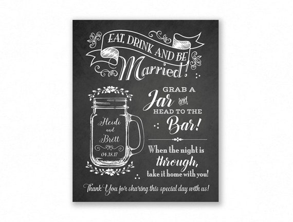 picture relating to Head in a Jar Printable named Mason Jar Custom made Printable Wedding ceremony Indication, Chalkboard Style and design, Get A Jar, Thoughts in the direction of the Bar, Make a decision Your Dimension (Cleo Suite #CMS1C)