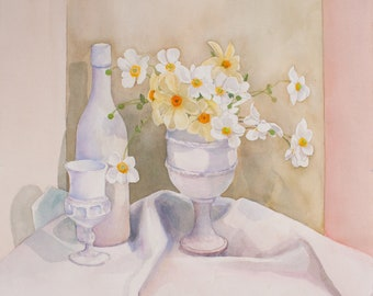 JAPANESE ANEMONES Watercolor Painting