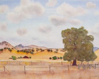 CALIFORNIA HILLS Watercolor Painting