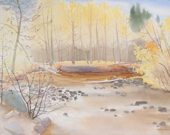 RIVER BANK ASPENS Watercolor Painting