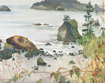 TRINIDAD BEACH Watercolor Painting