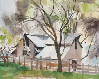 OPEN BARN Watercolor Painting