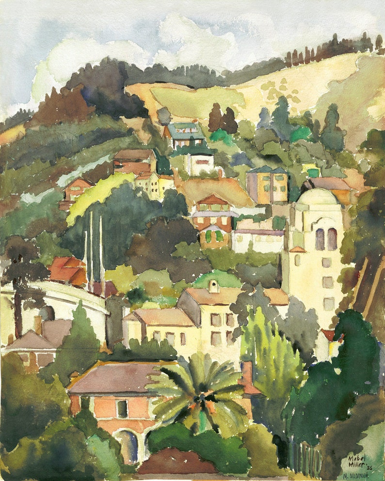 UC BERKELEY HILLS in 1936 Watercolor Painting image 0