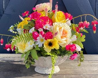 elegant floral centerpiece,  faux table decor, friend gift ideas, cheery flower arrangement