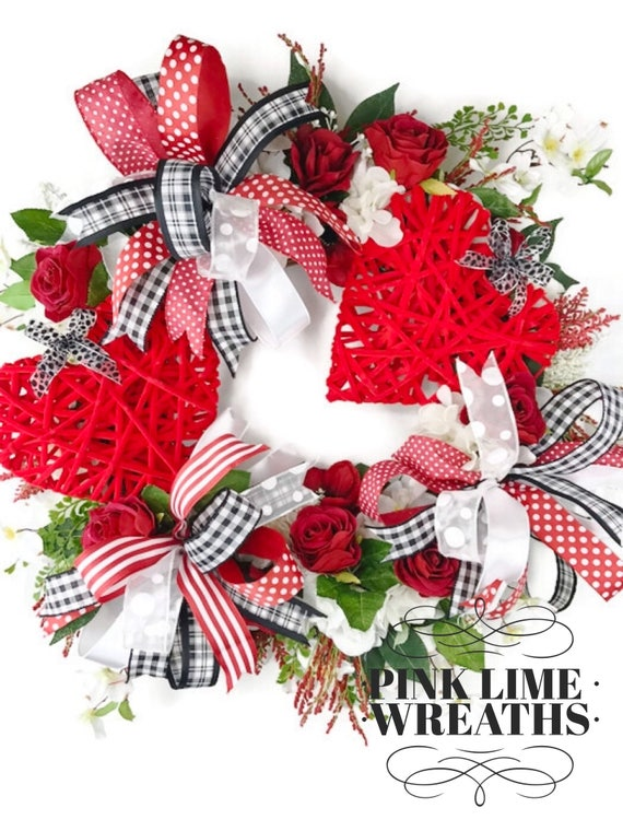 Valentines Wreath For Front Door Valentines Decor Red Etsy
