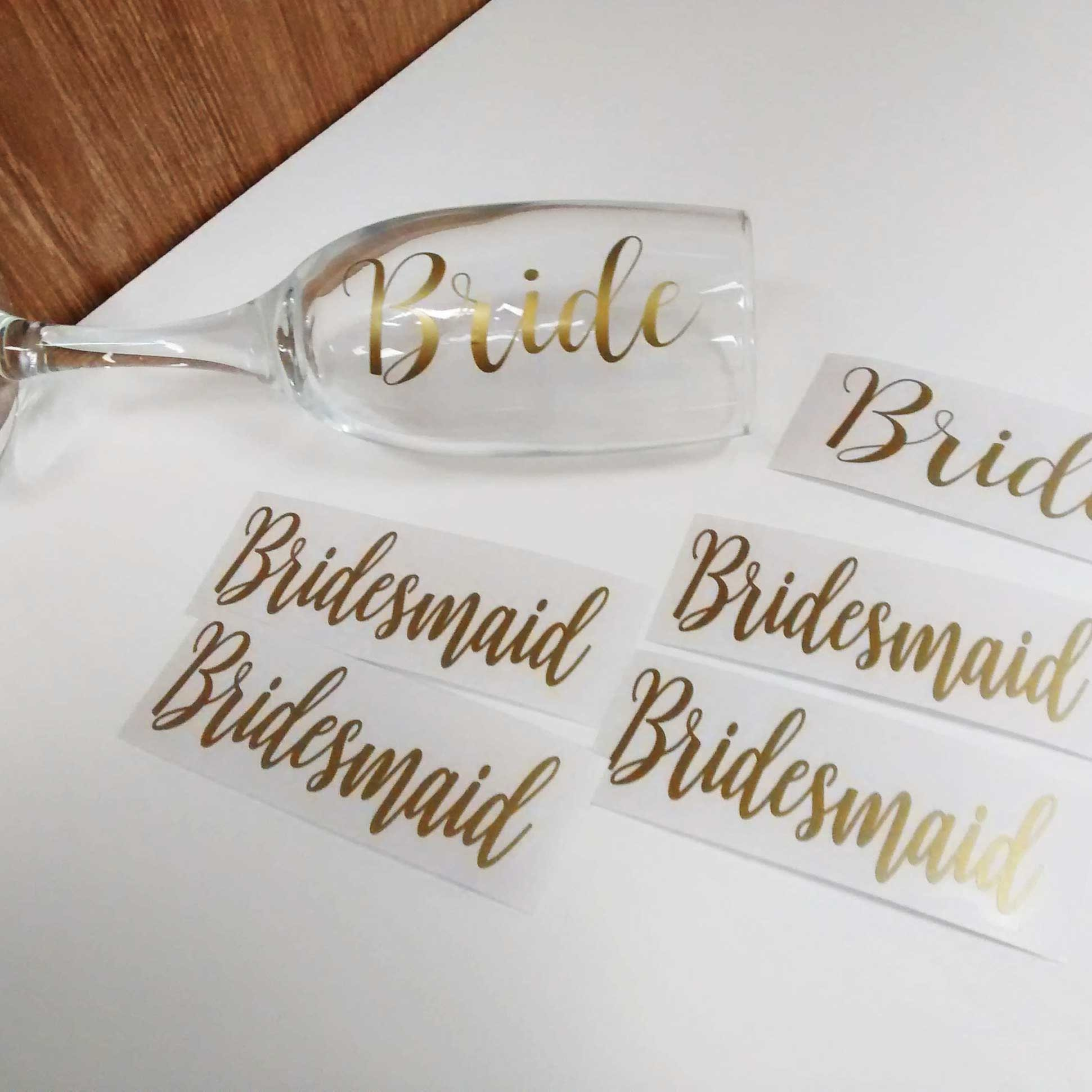 wedding favour stickers glassware decal labels personalise a bridesmaid gift Metallic copper vinyl decal name stickers