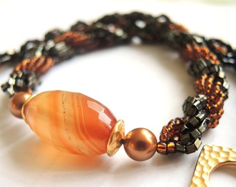 Beadwoven Necklace/ Spiral Rope Necklace/ Agate Necklace/ Autumn Necklace