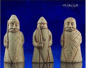 RARE Berserker Trio, Isle of Lewis Chessmen, Chess Piece