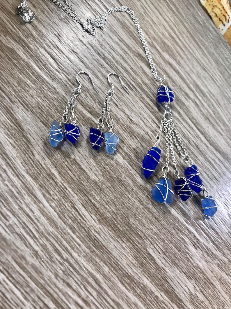 Authentic Blue Sea Glass Necklace with Matching Earrings Cobalt and Cornflower Blue Wire Wrapped Matching Jewelry for Sister gift boxed