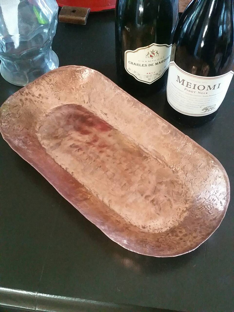 Nuts and Candles Solid Copper Serving Tray Perfect for Fruit Candy Handmade Dinner Serving Tray Oval  Bowl  in Various Sizes.