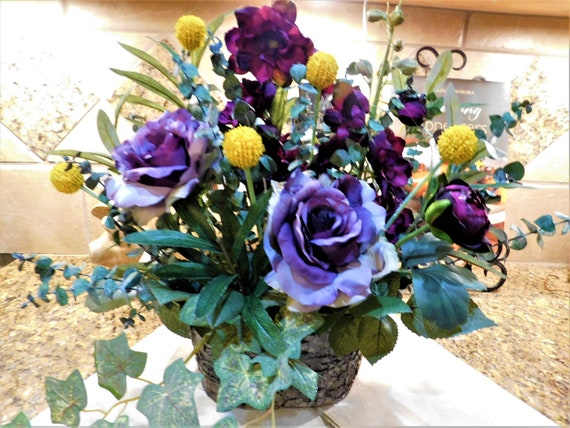 Silk flower arrangement purple lavender yellow flower etsy image 0 mightylinksfo