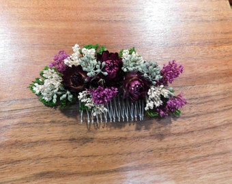 Hair comb, Flower comb, Dried flower comb, burgundy hair accessory, wedding hair comb, Hair accessory,Can be custom Made to Order