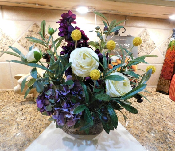 Silk flower arrangement purple yellow lavender ivory flower etsy image 0 mightylinksfo