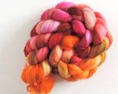 merino nylon,Summer Heat, superwash sock blend, top, handpainted fiber for spinning,ca.3,5oz