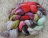 merino nylon,Agathes Kussmund, sock blend superwash top, handpainted fiber for spinning, ca.3,5oz