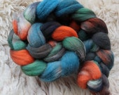 hand dyed Shetland top, Rainbow No 323, roving for spinning and felting 120gr