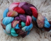 merino nylon,Cloud Dancer, superwash sock blend, top, handpainted fiber for spinning,ca.3,5oz