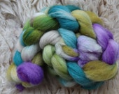 cheviot nylon,Am Bach, top, sock blend,handpainted fiber for spinning, ca.3,5oz