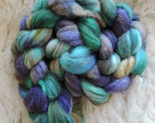 Shetland,mix, Eyes of Mermaid, handpainted top-roving for spinning and felting 120gr