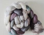 Corriedale,Rosefiber,Black Orchid, top, handpainted fiber for spinning, 120g
