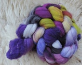 merino nylon,Lady Violet, superwash sock blend,top,handpainted fiber for spinning,3,5oz